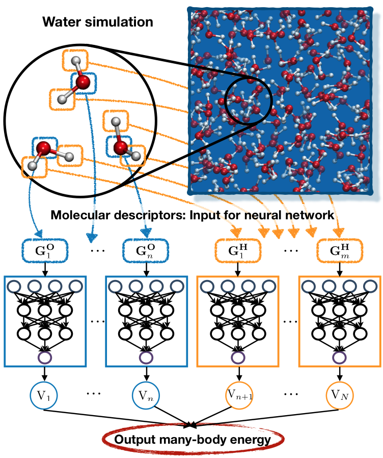 Behler-Parinello type neural network architecture 	      for water 3-body interactions