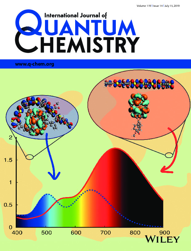 Cover of the International Journal of Quantum Chemistry featuring DFT calculations of UV/Vis spectra of organic photovoltaic materials